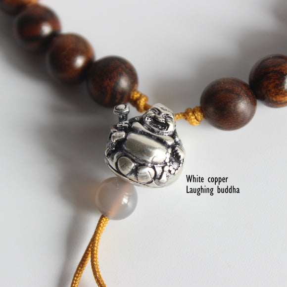 Bracelet Buddha - Wooden with White Copper