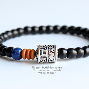 Bracelet Six Mantra Words - Coconut Shell with Lapis Lazuli