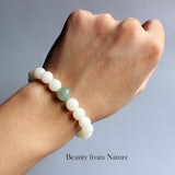 Bracelet Lotus- White Bodhi Seed with Green Jade