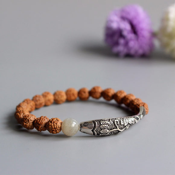 Bracelet Lucky Fish - Rudraksha with 925 Silver