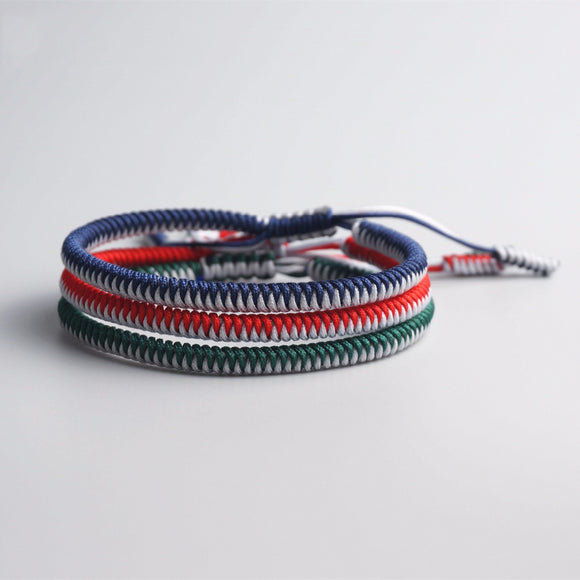 Bracelet Blue/Red/Green - Rope -Tibetan Lama Handmade