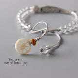 Bracelet Fish - Pure Crystal with 925 Silver and Tagua Nut Charm