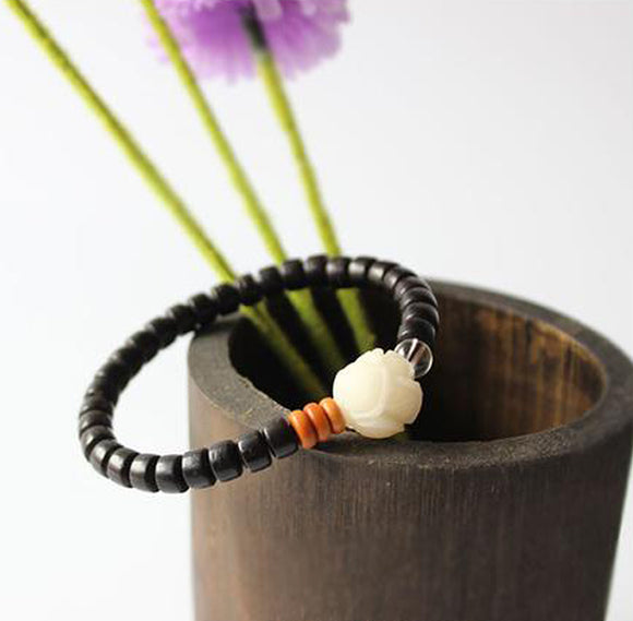 Bracelet Lotus Tagua Nut - Coconut Shell with Olive Nut and Pure Crystal