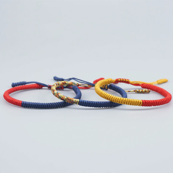 Bracelet Blue/Red/Yellow for Luck - Rope  - Tibetan Lama Handmade