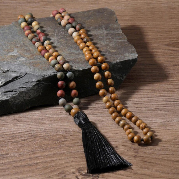Japa Mala Natural Beads Necklace