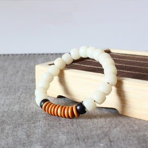 Bracelet Tibet - White Bodhi Seed with Coconut Shell and Olive Nut