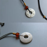 Necklace Om Mani Padme Hum - Simple Ropes with Tagua Nut Pendant