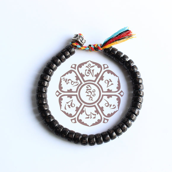 Lucky Bracelet - Coconut Shell with Hand Braided Cotton