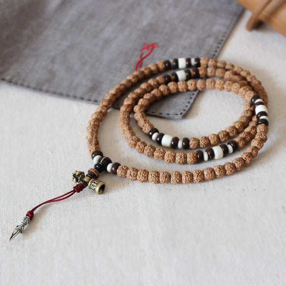 Necklace 108 Mala Beads Prayer - Rudraksha with White Copper