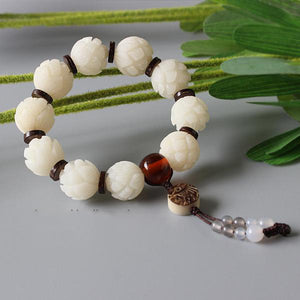 Bracelet Lotus/ Fish - White Bodhi Seed with Tagua Nut