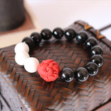Bracelet Ganesha - Black Obsidian with Mother of Pearl and Cinnabar