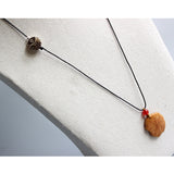 Necklace Leaf - Elegant Rope with Ivory Nut