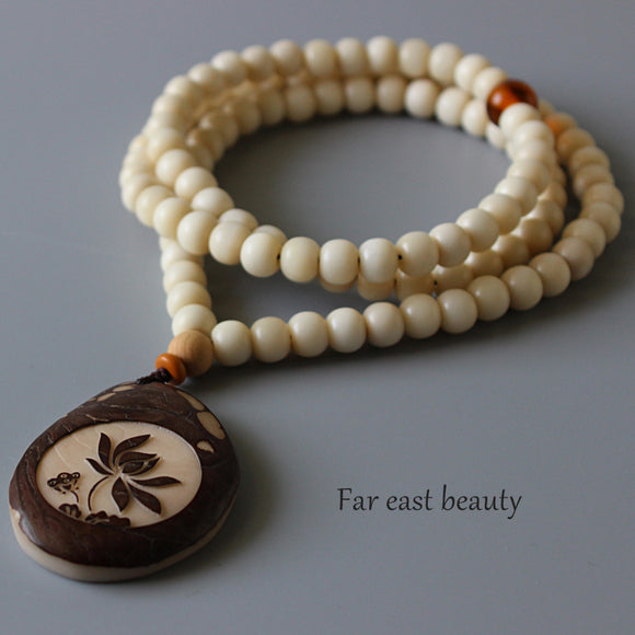 Necklace 108 Mala Beads - Tagua Nut and Lampwork