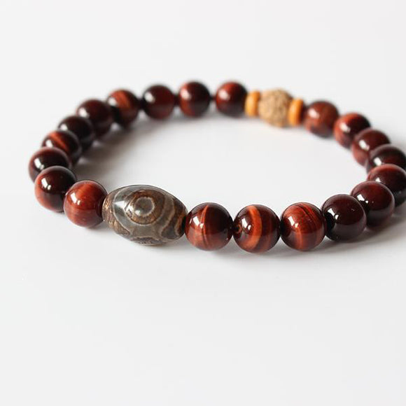 Bracelet Tibet - Tiger Eye Stone with Tibetan Agate