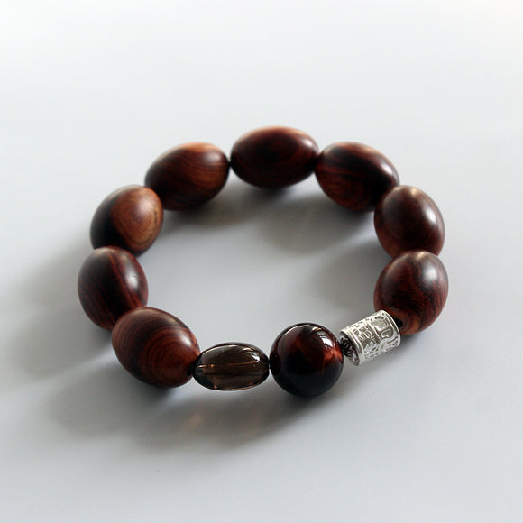 Red Tiger Eye Bracelet with Wood
