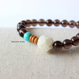 Bracelet Lotus - Smoky Crystals with Amazon Stone and Tagua Nut