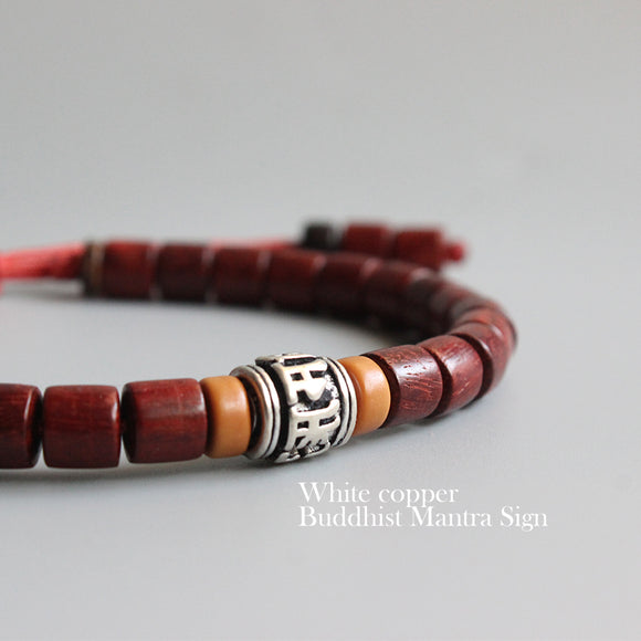 Bracelet Om Mani Padme Hum - Red Sanders Wood & Tiger Skin Wood with White Copper