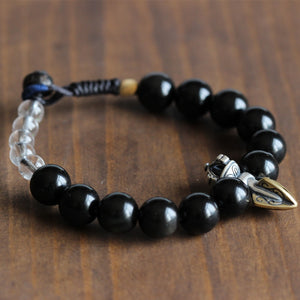 S925 Phurba Charm with Black Obsidian Stone Beads