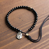 Om Mani Padme Hum Charm with Coconut Shell Beads
