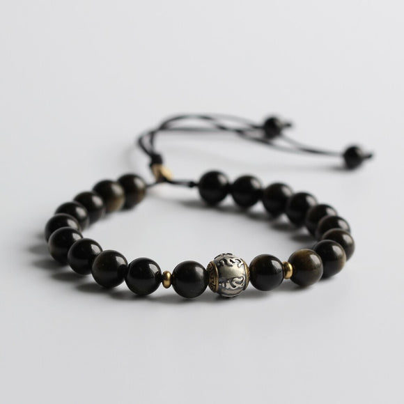 S925 Om Mani Padme Hum Charm with Golden Obsidian Stone Beads