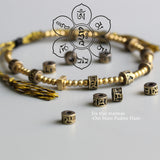Gold Colored Om Mani Padme Hum Bracelet with Hand Braided Cotton Thread