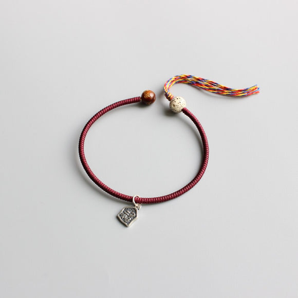 Handmade Deep Red Bracelet with Tibetan Colors Threads