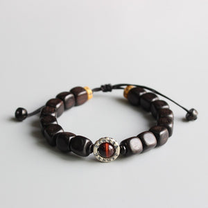 Om Mani Padme Hum Bracelet- Black Sandalwood with Tiger Eye Stone