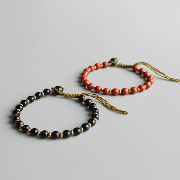 Black & Red Semi -Precious Stones with Braided Cotton