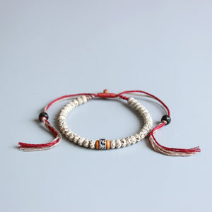 Om Mani Padme Hum Spiritual Bracelet with Hand-Braided Cotton