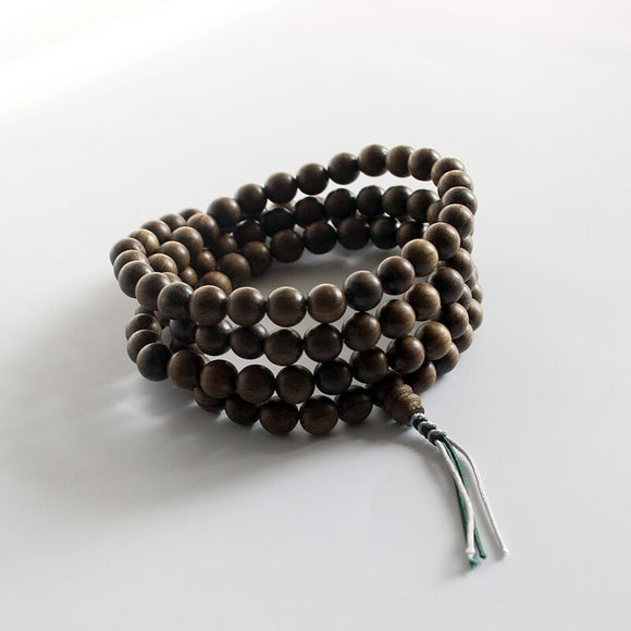 Meditation 108 Mala Beads Necklace - Wood with Hand Braided Knot