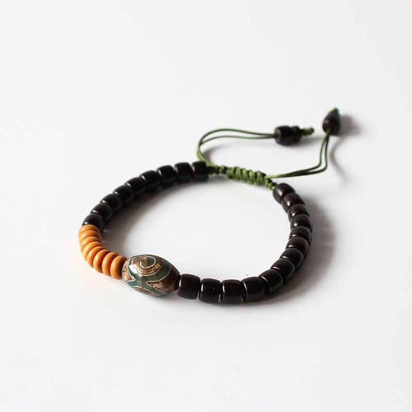 Tibetan Bracelet - Coconut Shell & Red Sandal Wood & Tiger Skin Wood