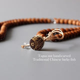Necklace Lotus&Fish - Wood with Tagua Nut
