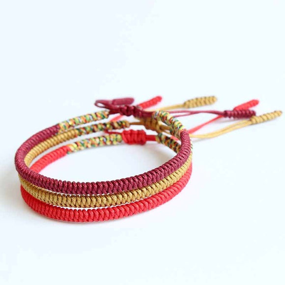 Bracelet Red/Gold/Deep Red - Rope - Tibetan Lama Handmade