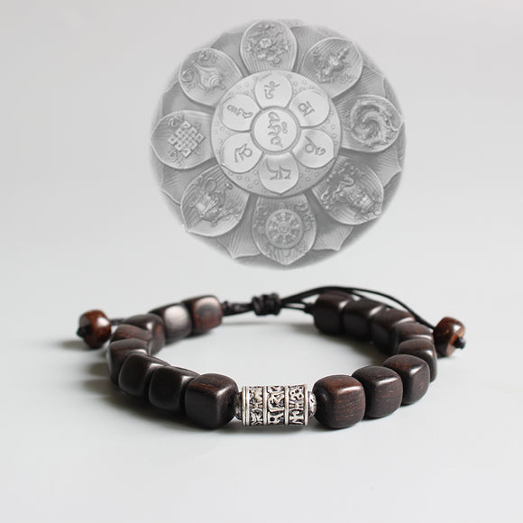 Bracelet Om Mani Padme Hum - Dark Sander Wood with Thai Silver