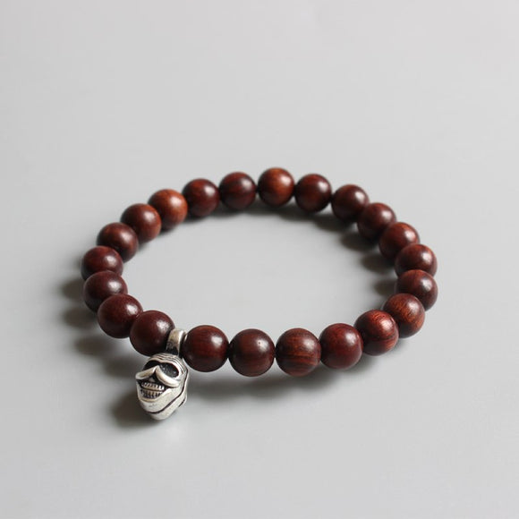 Skull Bracelet- Natural Wood & White Copper