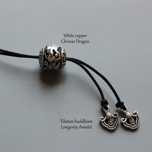 Bat & Dragon Charm Necklace - Simple Rope