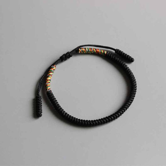 Bracelet Black/Grey/Yellow for Luck - Rope - Tibetan Lama Handmade