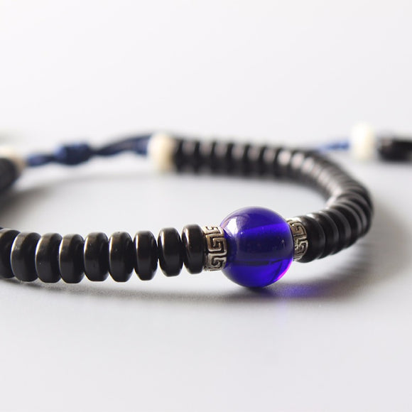 Ethnic Bracelet - Navy Blue Lampwork with Coconut Shell