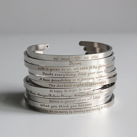 Bracelets with Motivational Quotes - Stainless Steel