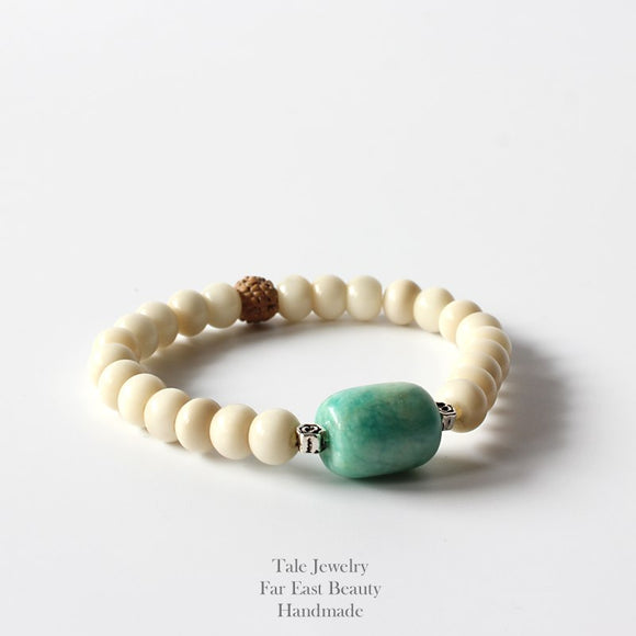 Yoga Bracelet- Amazon Stone & Tagua Nut Beads