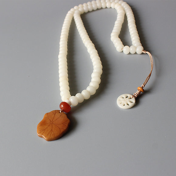 Necklace Leaf - White Bodhi Seed with Tagua Nut