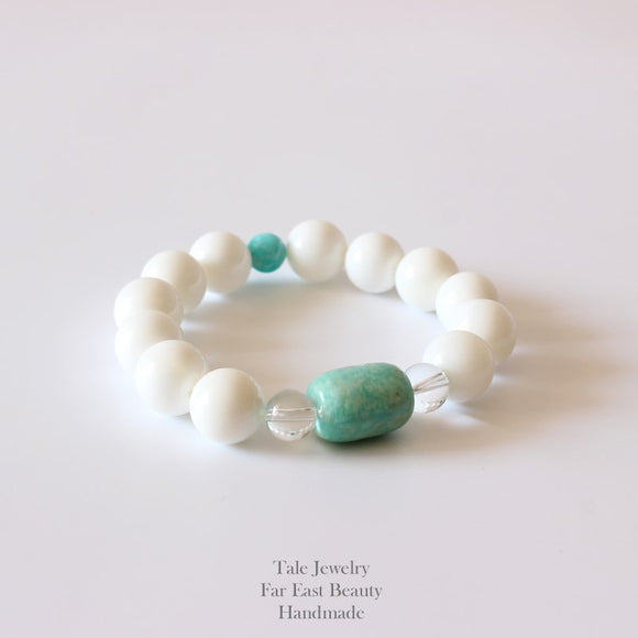 Meditation & Peace Bracelet - Mother of Pearl & Amazon Stone