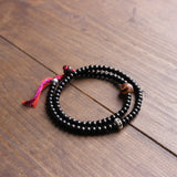 The Eye of Buddha 108 Mala Beads - Coconut Shell Beads with Hand Braided Cotton and Tibetan Agate