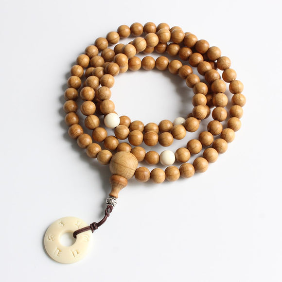 108 Wood Mala Beads Necklace with Tagua Nut Om Mani Padme Hum Pendant