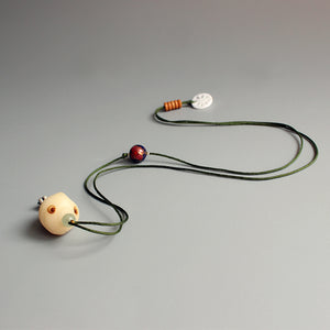 Necklace Fish -Bodhi Seed with Tagua Nut and Cloisonné