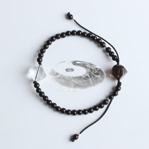 Yin Yang Bracelet - Coconut Shell with Pure Crystal & Smoky Crystal