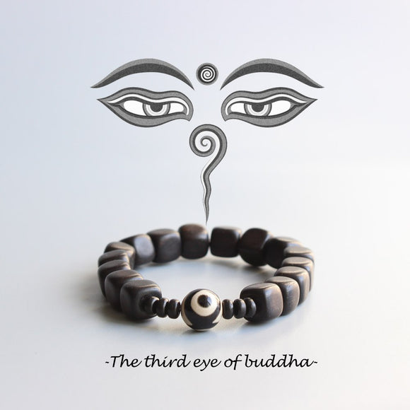Third Eye Of Buddha Bracelet - Tibetan Agate with Dark Sandalwood