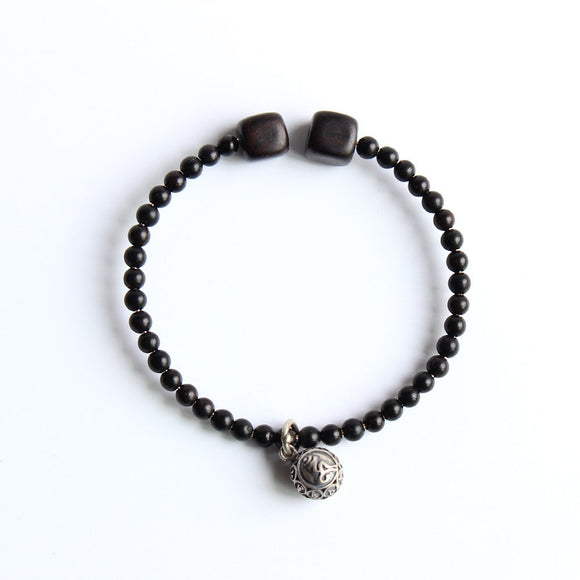 Om Mani Padme Hum bracelet - Coconut Shell with Dark Sandalwood