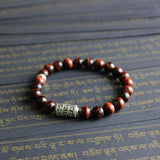Eight Auspicious Signs Bracelet with Red Tiger Eye Stone Beads