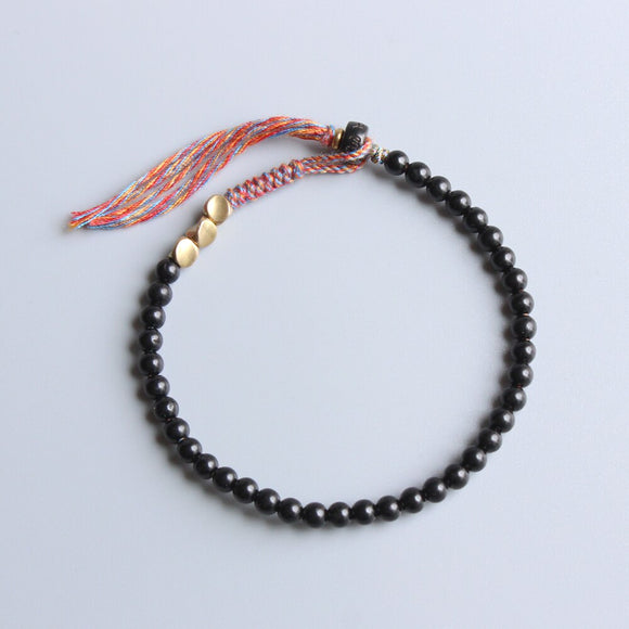Colors of Tibet - Hand Braided Cotton with Coconut Shell Bracelet